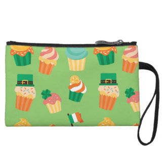 Cute funny St patrick green orange cupcake pattern Wristlet
