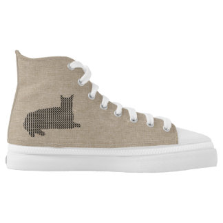 Cute Funny  Stitched Black Cat Shoes