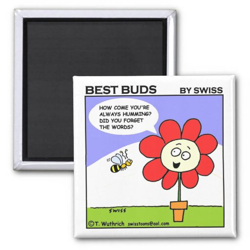 Cute Funny Sweet Musical Bee Cartoon Fridge Square Magnet