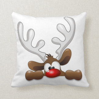 Cute Funny The Red Nosed Reindeer Pillow