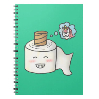 Cute Funny Toilet Paper Dreaming Unicorn Spiral Note Books