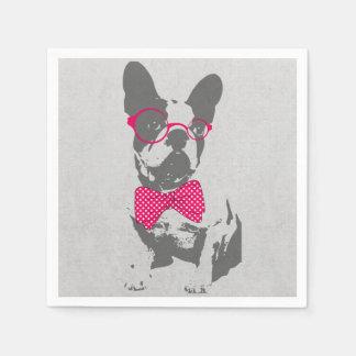 Cute funny trendy vintage animal French bulldog Disposable Napkin