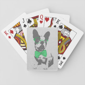 Cute funny trendy vintage animal French bulldog Playing Cards