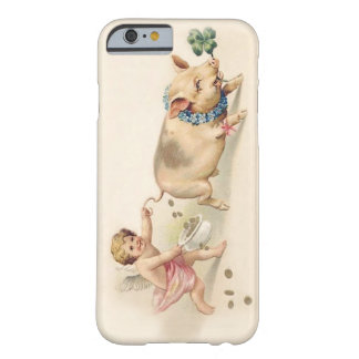 Cute Funny Vintage Pig and Angel Running Together Barely There iPhone 6 Case