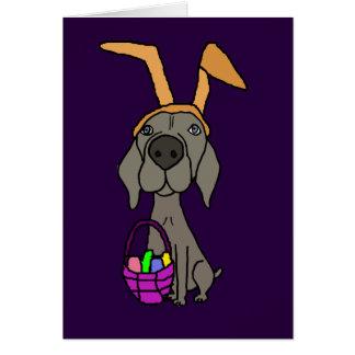 Cute Funny Weimaraner with Bunny Ears Card