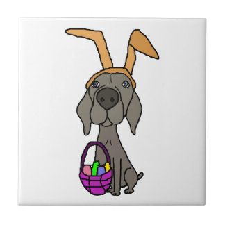 Cute Funny Weimaraner with Bunny Ears Small Square Tile