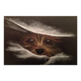 Cute Funny Yorkie Between Pillow Original Art Photo Art