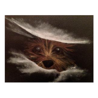 Cute Funny Yorkie Between Pillow Original Art Postcard