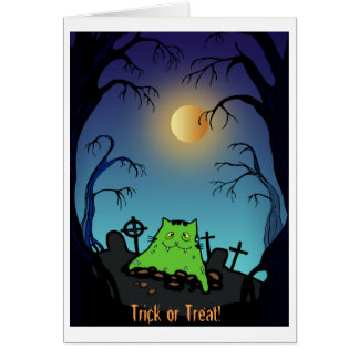 Cute Funny Zombie Cat Halloween Greeting Card