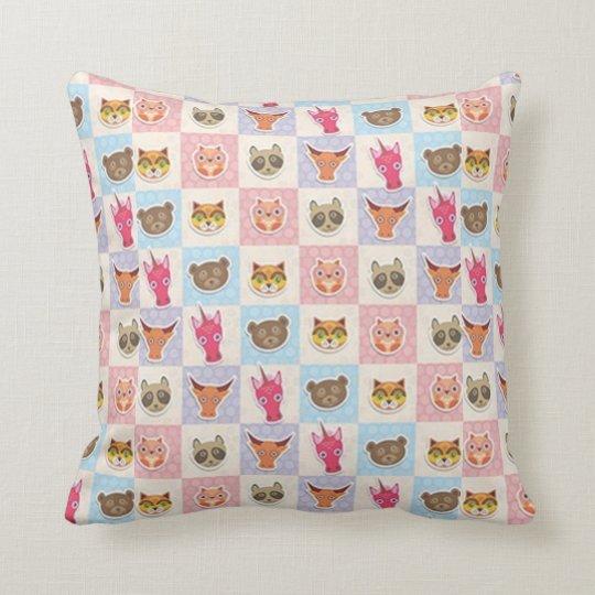 Cute Furry Friends Throw Pillow