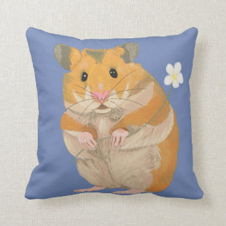 Cute Furry Hamster Holding a Flower Cushion