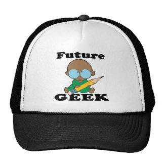 cute future geek black baby trucker hats