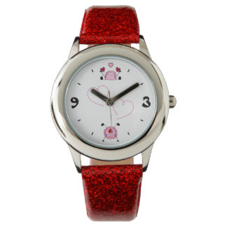 Cute Fuzzies and Hearts ~ Pink, Red and Black Watch