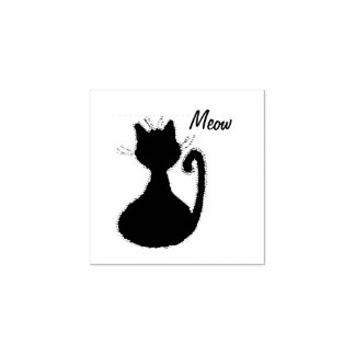 Cute Fuzzy Black Cat Silhouette Meow Rubber Stamp