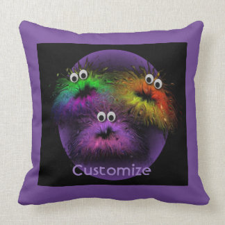 Cute Fuzzy Rainbow Critters Purple Throw Pillow