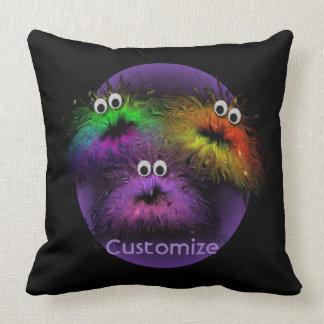 Cute Fuzzy Rainbow Critters Throw Pillow 2