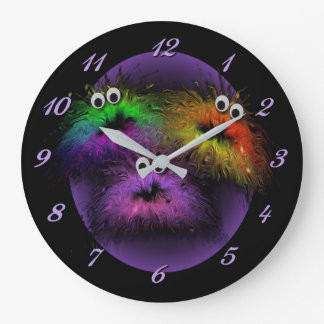 Cute Fuzzy Rainbow Critters Wall Clock