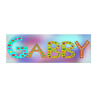 Cute GABBY Letters Girl's Name Abstract Background Canvas Print
