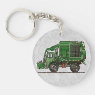 Cute Garbage Truck Trash Truck Double-Sided Round Acrylic Key Ring