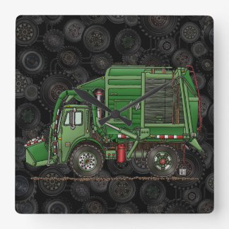 Cute Garbage Truck Trash Truck Square Wall Clock