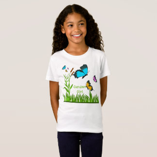 Cute Garden Girl Butterfly Kids White T-Shirt