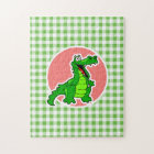 Cute Gator; Green Gingham Jigsaw Puzzle