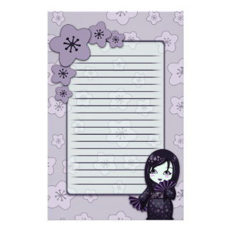 Cute Geisha Black And Purple Cherry Blossoms Lined Stationery Paper