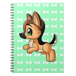 Cute German Shepherd Puppy Art Notebook