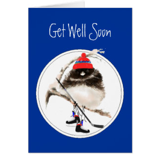 Cute Get Well Soon Ice Hockey Sport Bird Card