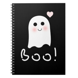 Cute Ghost Boo Happy Halloween Notebook