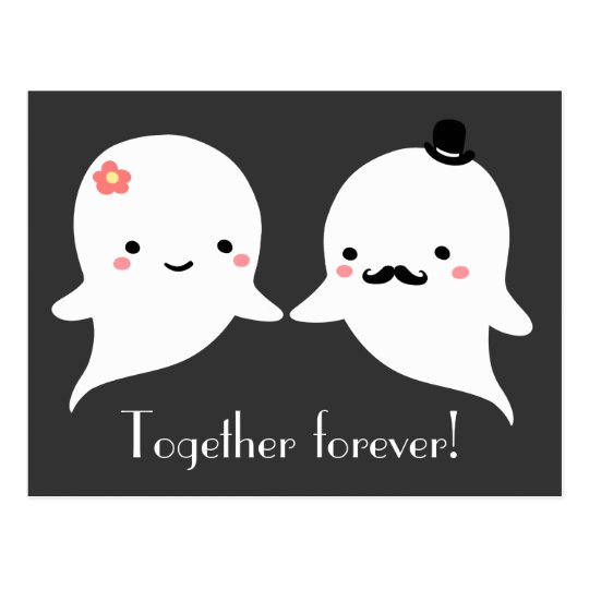 Cute Ghost Couple Postcard