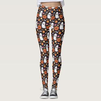 Cute Ghost, Pumpkin & Candy Halloween Pattern Leggings
