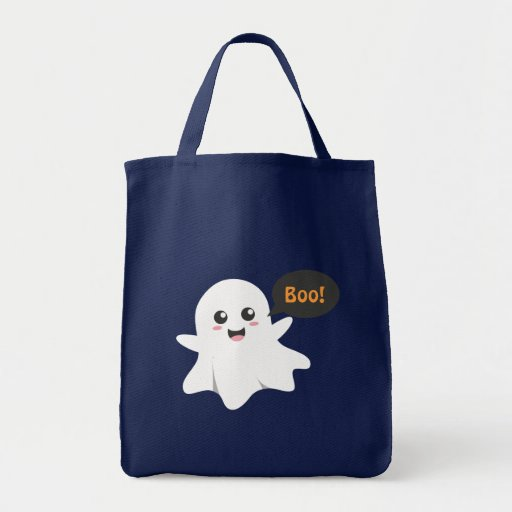 Cute Ghost that Goes Boo, Happy Halloween Tote Bag