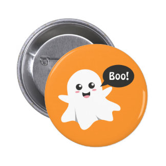 Cute Ghost that Goes Boo Happy Halloween Button