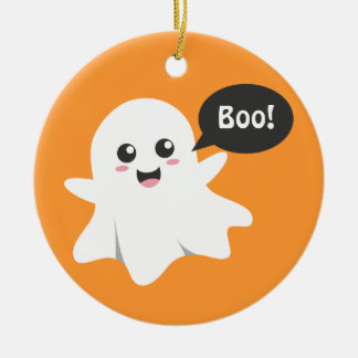 Cute Ghost that Goes Boo, Happy Halloween Christmas Ornament