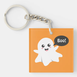 Cute Ghost that Goes Boo, Happy Halloween Double-Sided Square Acrylic Keychain