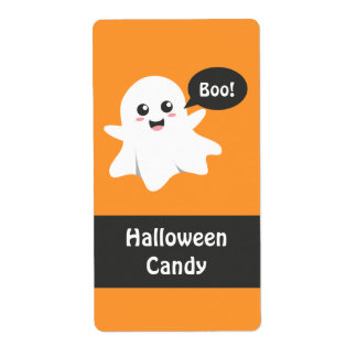 Cute Ghost that Goes Boo, Happy Halloween Shipping Label