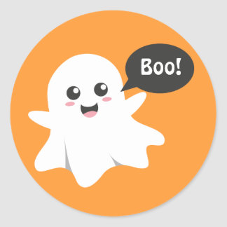 Cute Ghost that Goes Boo, Happy Halloween Round Sticker