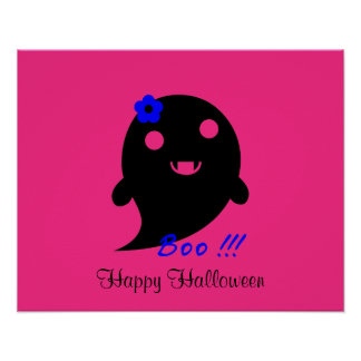 """Cute  Ghost With Flower And Word """"Boo"""" Poster"""