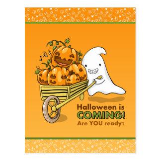 Cute ghost with wheelbarrow postcard