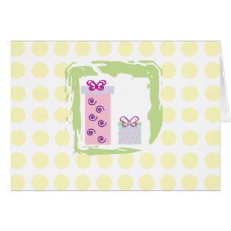 Cute gifts and yellow polka dots Card