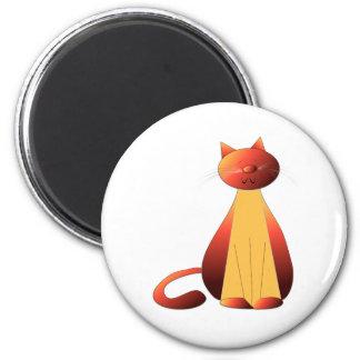 Cute Ginger Cat Art 6 Cm Round Magnet