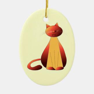 Cute Ginger Cat Art Ornament