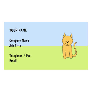 Cute Ginger Cat. Business Card Template