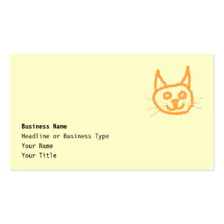 Cute ginger cat cartoon, on cream. pack of standard business cards