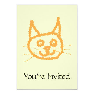 Cute ginger cat cartoon, on cream. personalized announcement