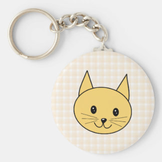 Cute Ginger Cat. Check background. Basic Round Button Key Ring
