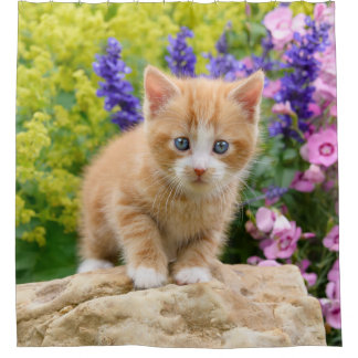 Cute Ginger Cat Kitten Flowery Garden Portrait Tub Shower Curtain