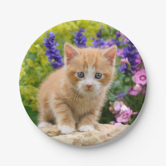 Cute Ginger Cat Kitten in Flowers - Funny Party Paper Plate