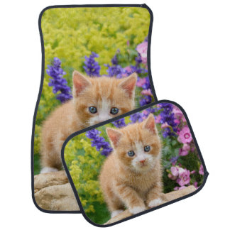 Cute Ginger Cat Kitten in Flowery Garden floor-mat Car Mat